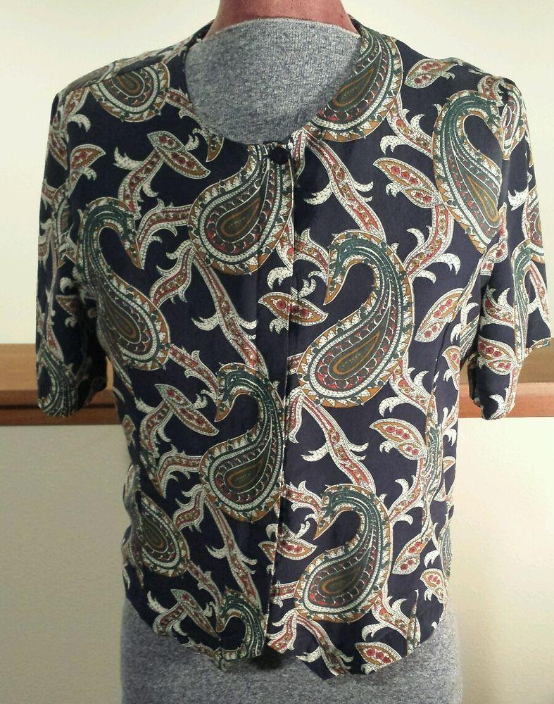Womens Edward 100% Silk Navy Blue Paisley Short Sleeve Button Up Blouse Sz Med  #Edward #Blouse #Paisley #Silk