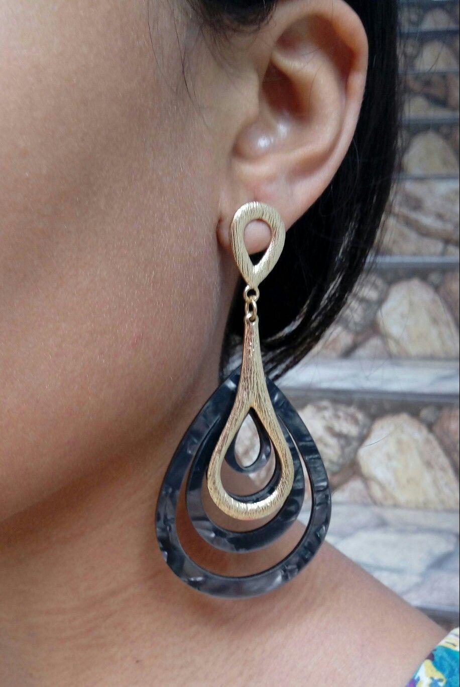 Body piercing earrings  Maxi Brinco de Acrílico Super Leve Cinza Escuro Por R  ou x