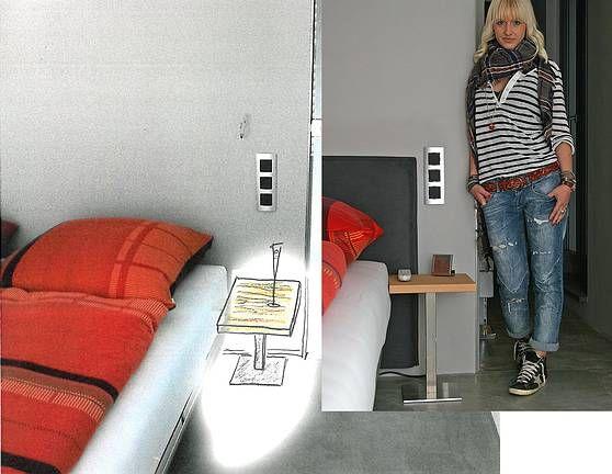 das nachttischchen hat einen fu aus edelstahl dessen entwurf man in der zeichnung daneben. Black Bedroom Furniture Sets. Home Design Ideas