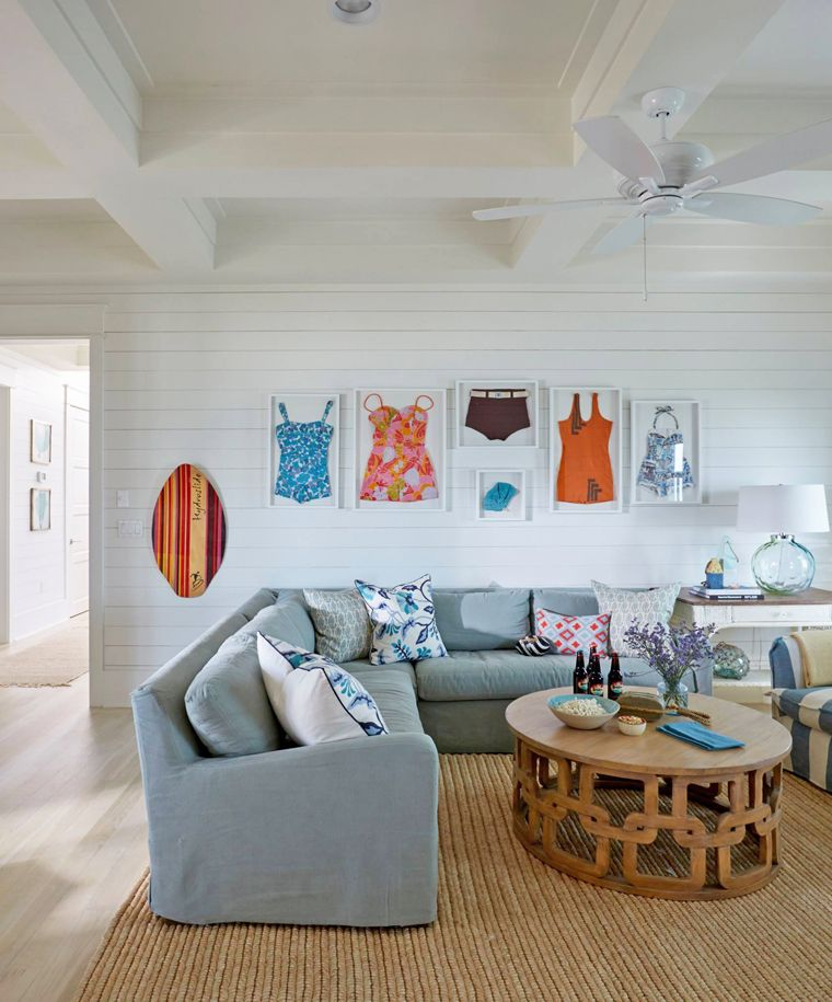 Coastal Family Room With Shiplap Walls  Home Decor  Pinterest Brilliant Living Room Design For Small House Design Inspiration