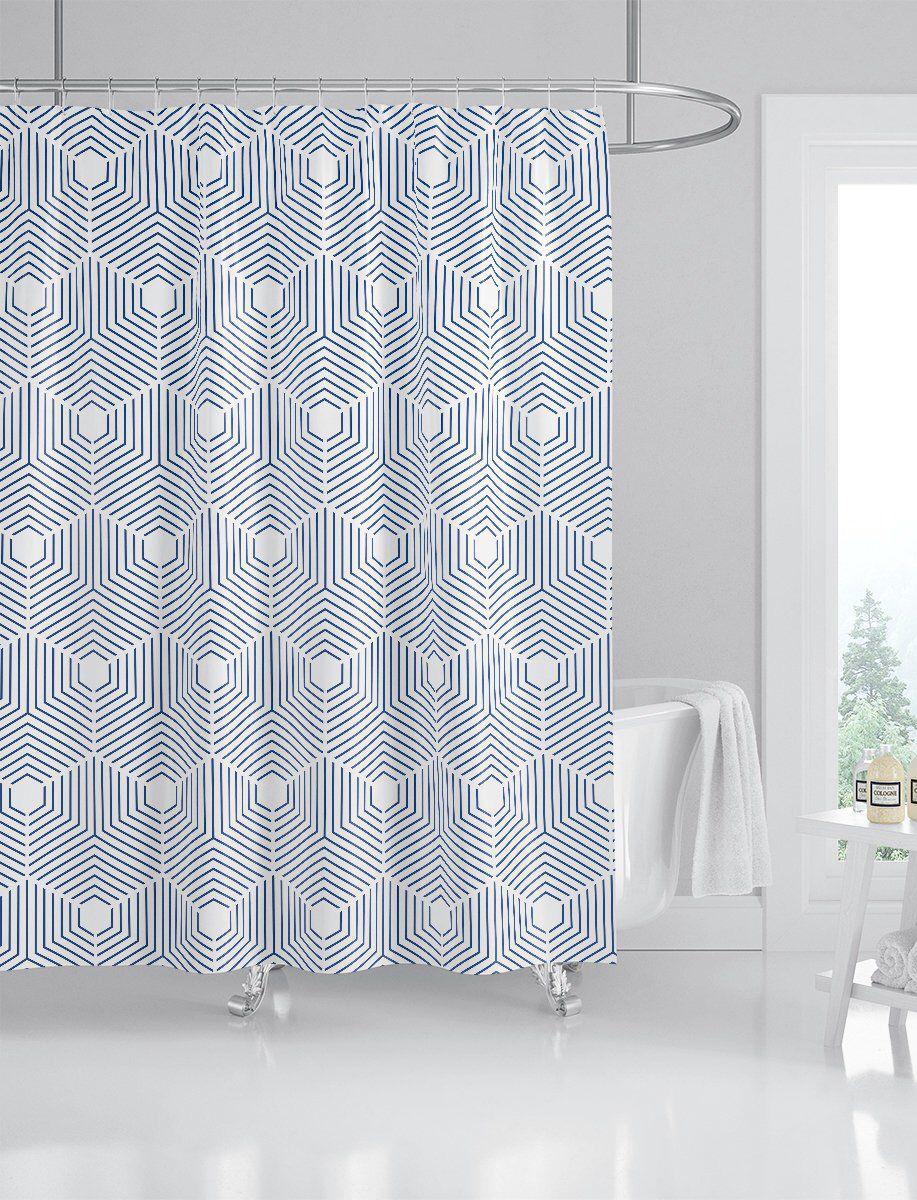 Indigo Geometric Pattern Shower Curtain Custom Printed Bath Curtain Fabric Shower Curtain Indigo Blue Shower Curtain Machine Washable Blue Shower Curtains Patterned Shower Curtain Fabric Shower Curtains
