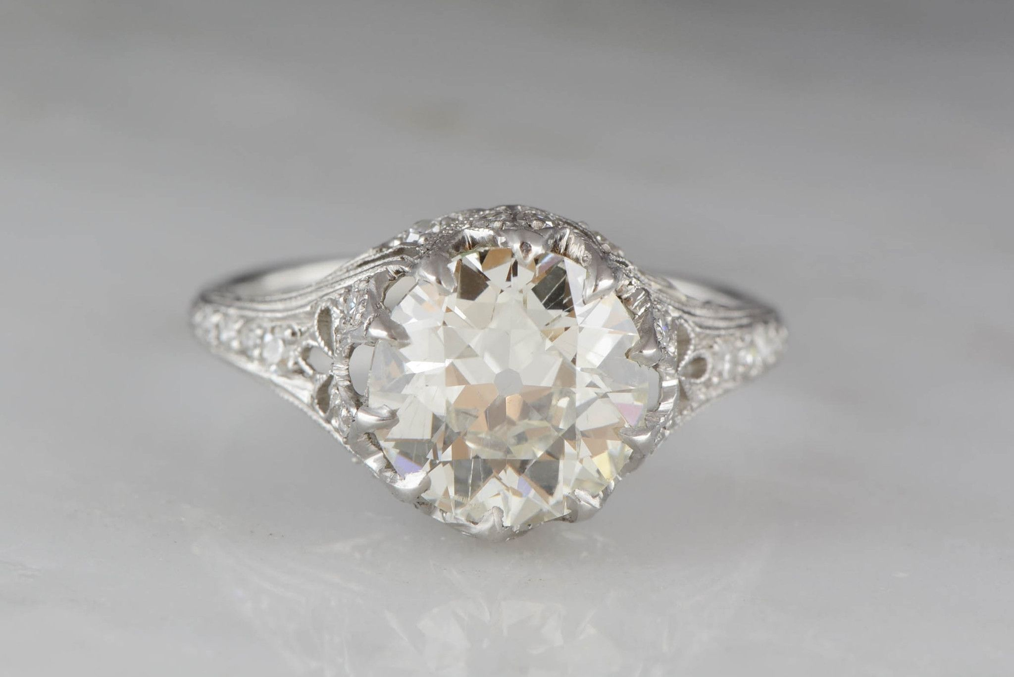 2.55 Carat Old European Cut Diamond High-Edwardian Platinum Engagement Ring with .50ctw Diamond Accents from Pebble and Polish