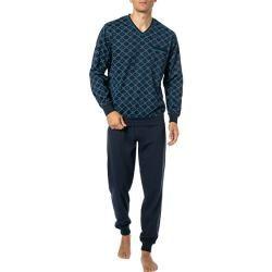 Photo of bugatti Herren Schlafanzug Pyjama, Baumwolle, dunkelblau gemustert BugattiBugatti