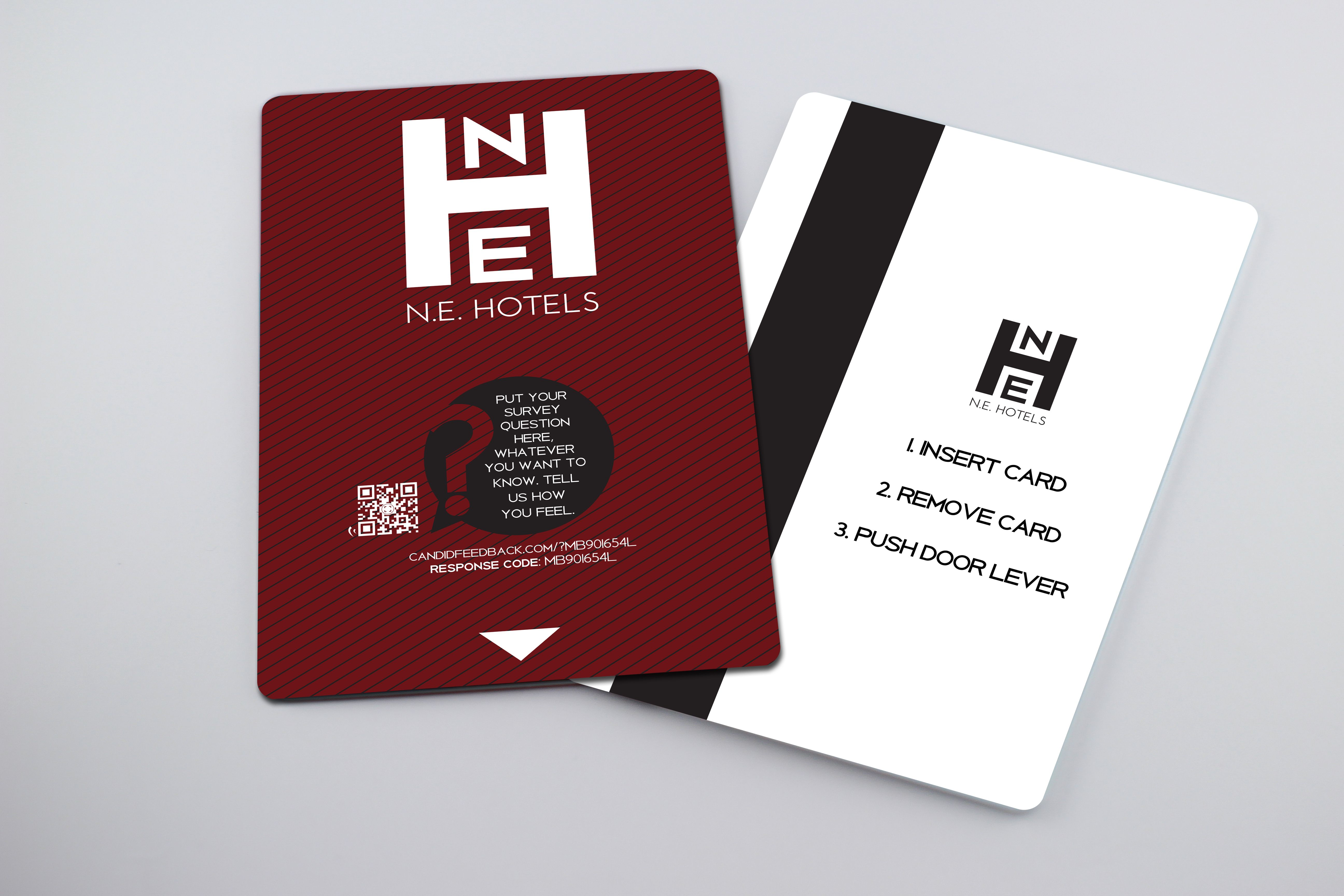 Photorealistic Mobile Feedback Hotel Key Card Design Mockup