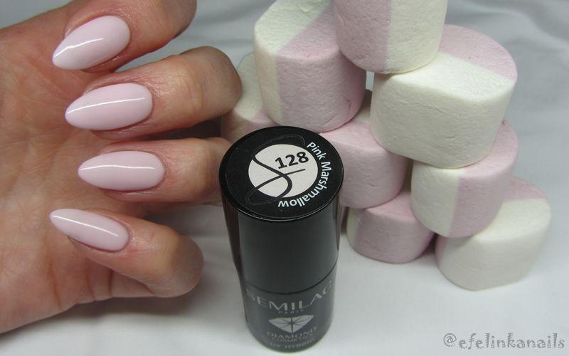 Hejka Semilac 128 Pink Marshmallow Ma Kolor Rozowych Pianek Czyli Mocno Rozbielony Pastelowy Chlodny Roz Idealnie Gel Nails Pink Marshmallows Manicure