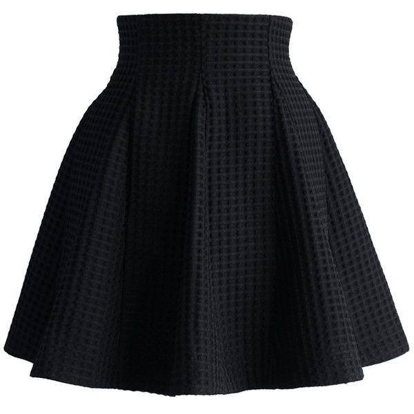 Chicwish Black Skater Skirt in Waffle Pattern ($42) ❤ liked on Polyvore featuring skirts, black, bottoms, knee length skater skirt, black circle skirt, print skater skirt, flared skater skirt and black flare skirt