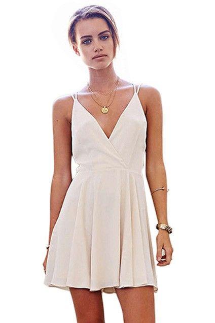 White Deep V-Neck Sleeveless Skater Dress | Homecoming