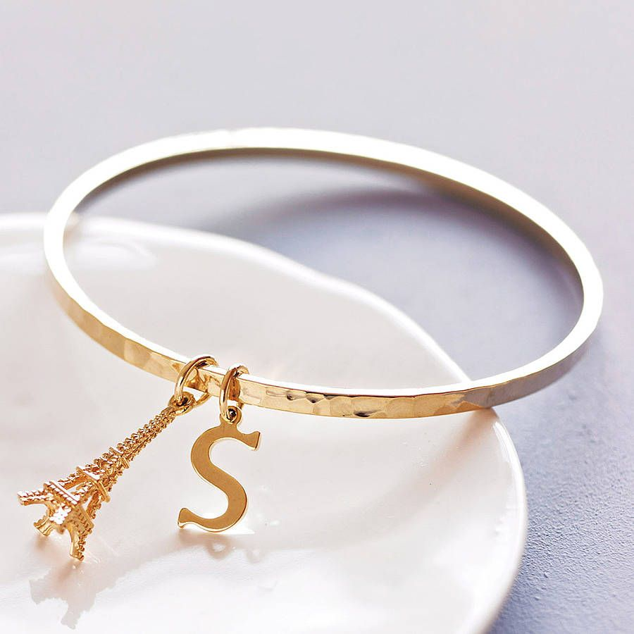 Hammered gold bangle initials belle and hammered gold