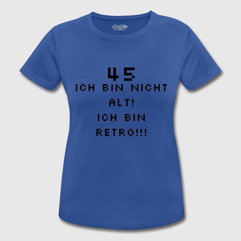 Retro 45 Geburtstag Frauen T Shirt Atmungsaktiv Royal Blau
