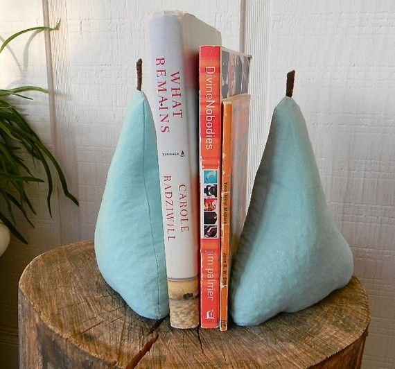 Pear Bookends (fruit, Home Decor, Sewing, Pear, Books, Blue,