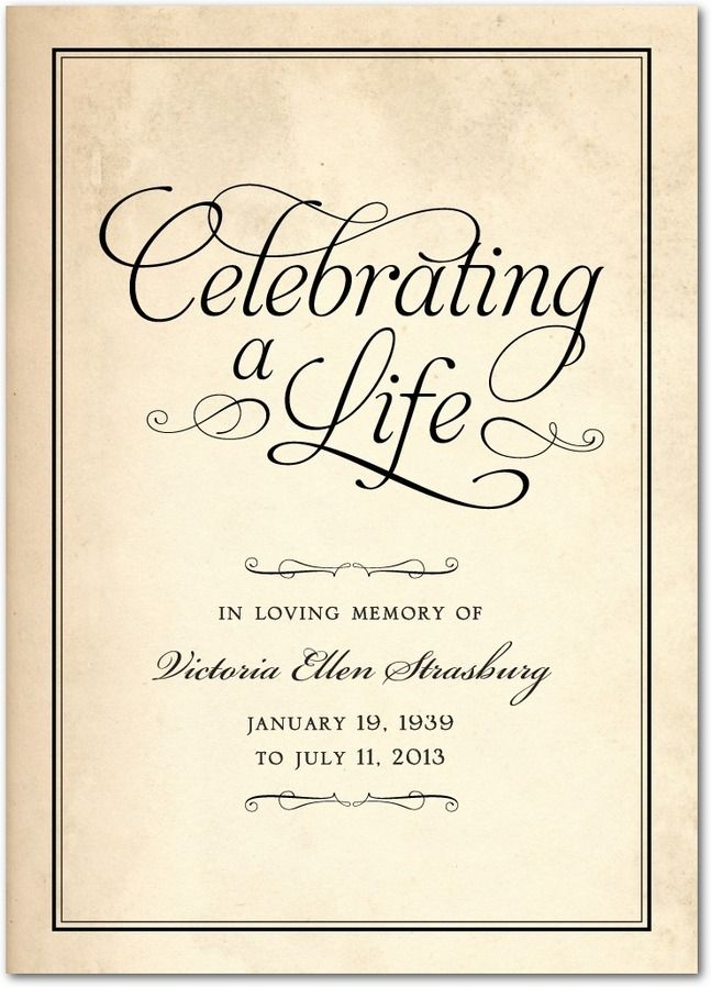 Celebrating A Life Memorial Programs In Black Or Sienna Brown Hello Little One Memorial Service Invitation Celebration Of Life Memorial Program