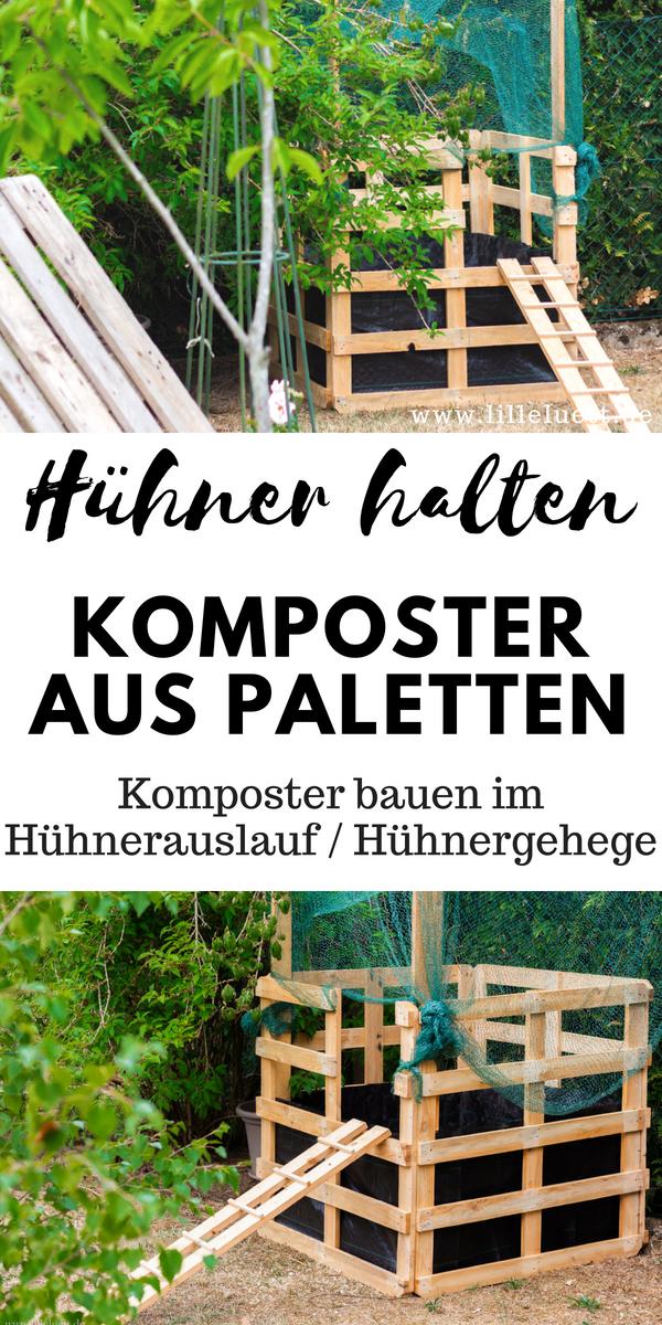 Kompost anlegen für unsere Hühner - Komposter aus Holz bauen #palettengarten