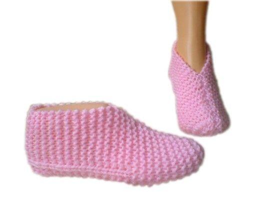 Hand Knit Slipper Sock Knitting Pattern Size 4 9 Uk Pinterest