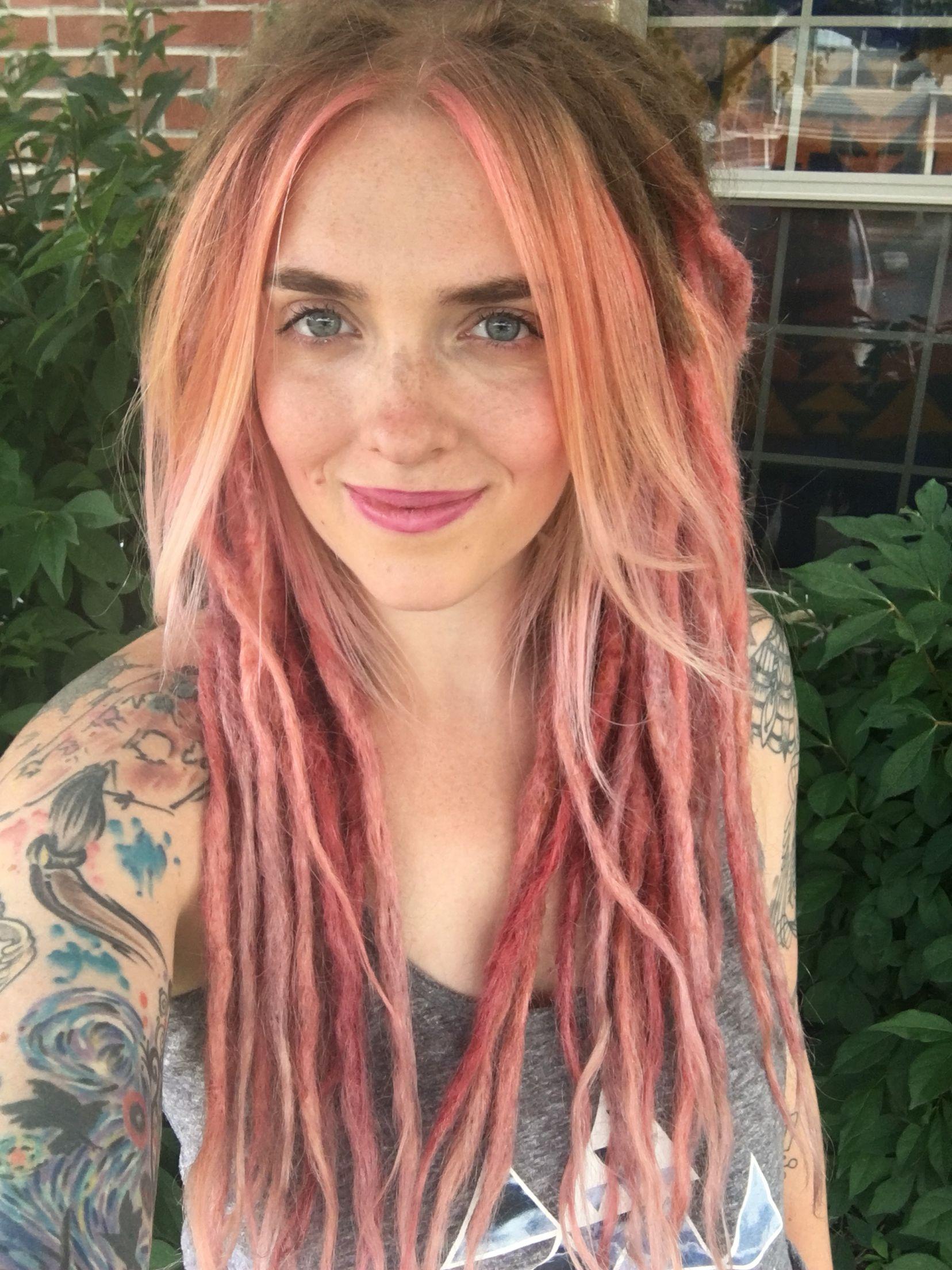 Ombré pink rose gold dreadlocks Hair Pinterest
