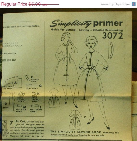 25%OFF Sewing Patterns Simplicity 3072 1950s by EleanorMeriwether