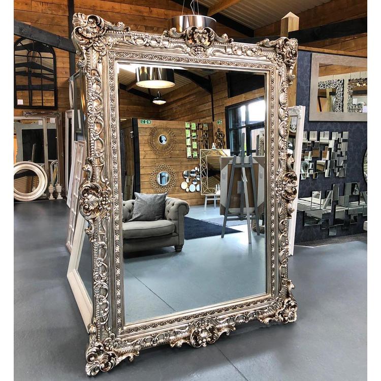 Ella Grande Champagne Silver Ornate Floor Mirror 84 X 63 213cm X 163cm In 2020 Floor Mirror Mirror Extra Large Mirrors