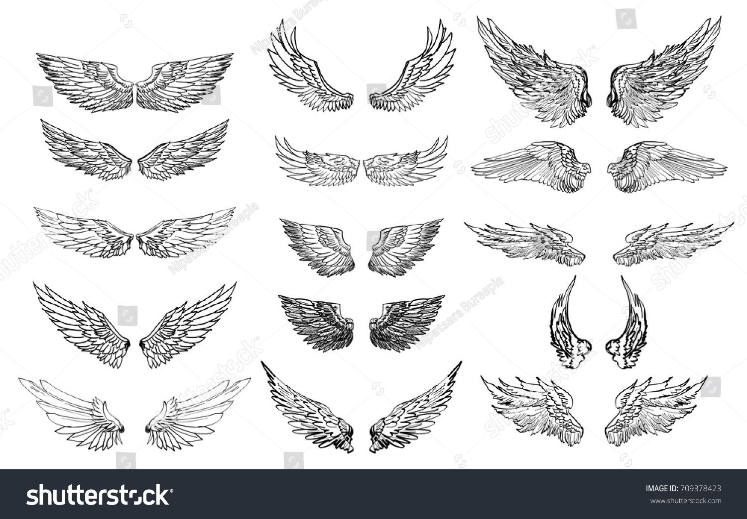 Hand Drawn Wing Set Sticker Wing Tattoo Doodle And Sketch Style