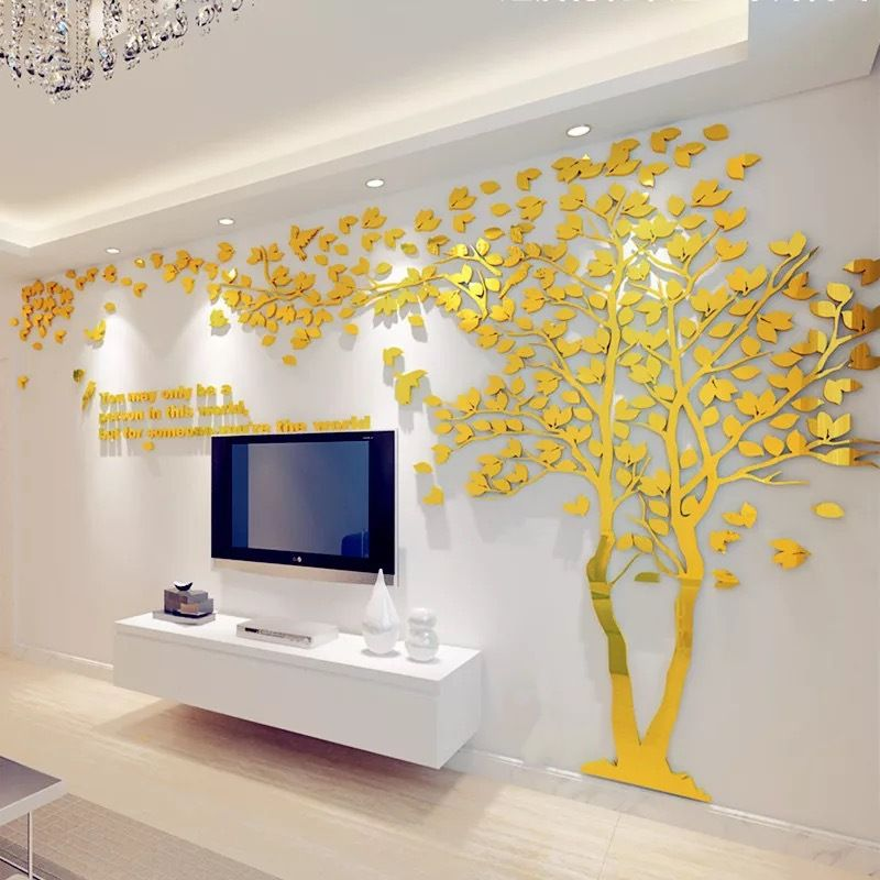Large Size Couple Tree Mirror Wall Stickers TV Backdrop DIY 3D ...
