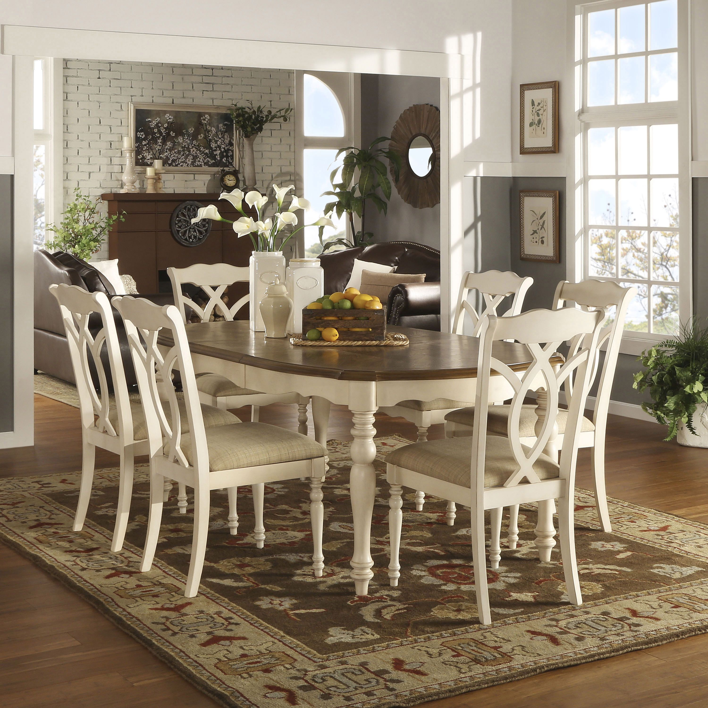 Country Kitchen Dining Set: Shayne Country Antique Two-tone White Extending Dining Set