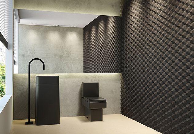 banheiro com revestimento preto