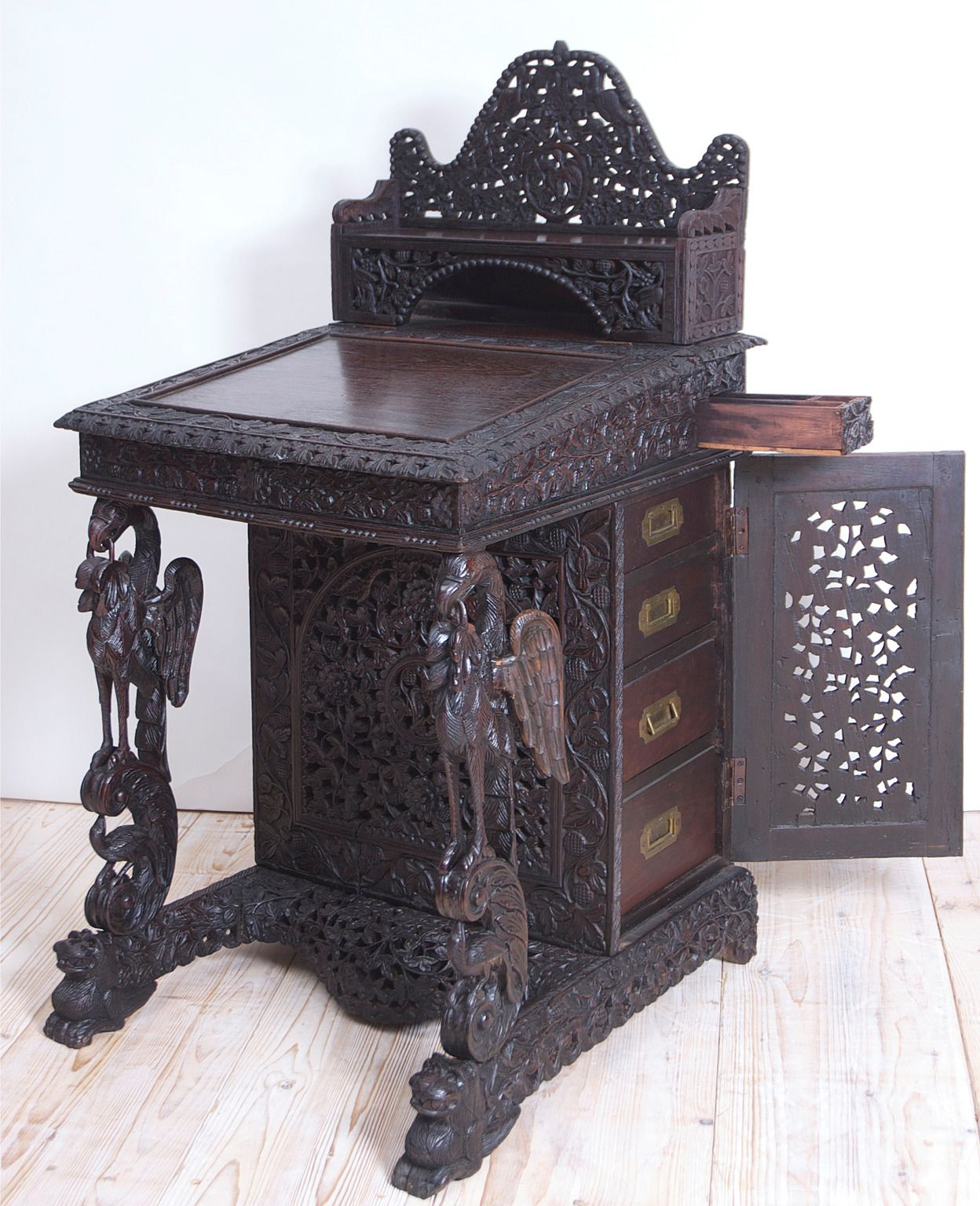Carved Anglo Indian Davenport Desk With Griffins