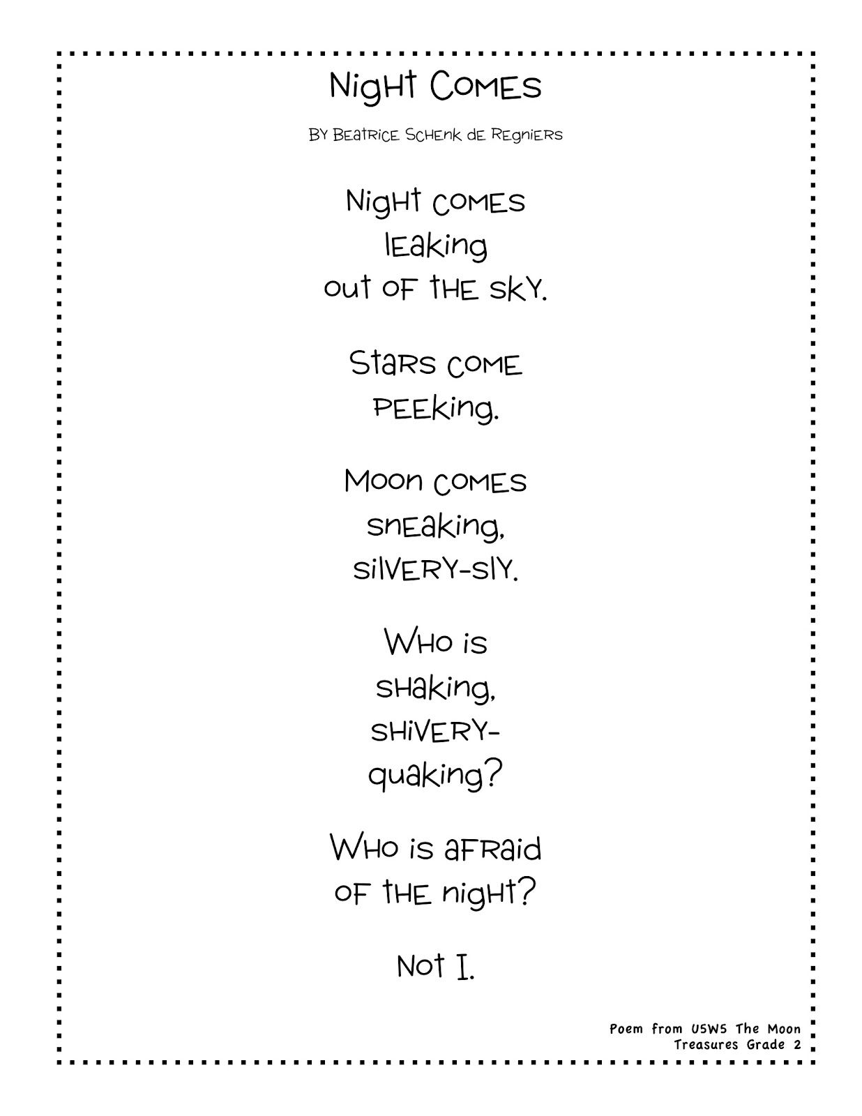 Unit 5 Week 5 The Moon Poem And Activity