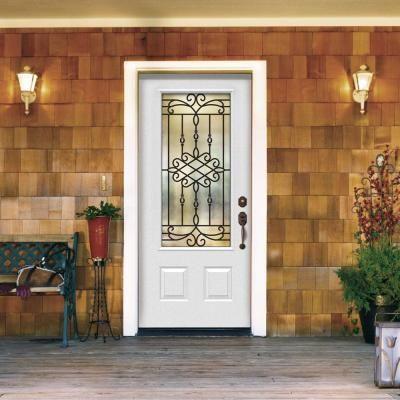 Jeld Wen 36 In X 80 In Sanibel 3 4 Lite Primed Premium Steel Prehung Front Door With Right Hand Sidelite Traditional Front Doors Home Depot Doors Door Design