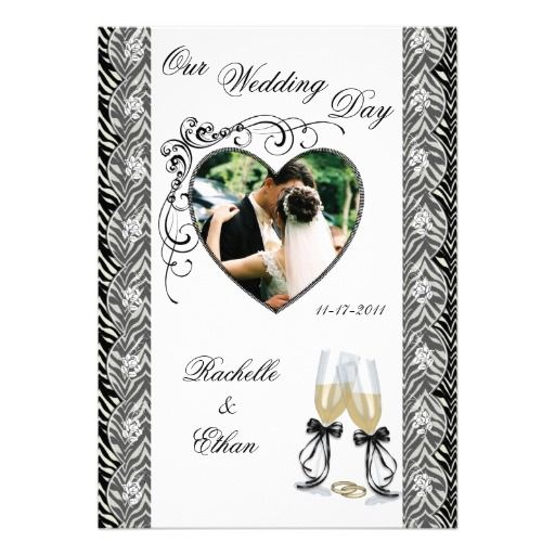Zebra Print Champagne Glass Wedding Invitations