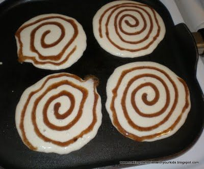 Cinnamon Roll Pancakes... mix melted butter, brown sugar and cinnamon, put in a squeeze bottle and squirt onto pancake batter