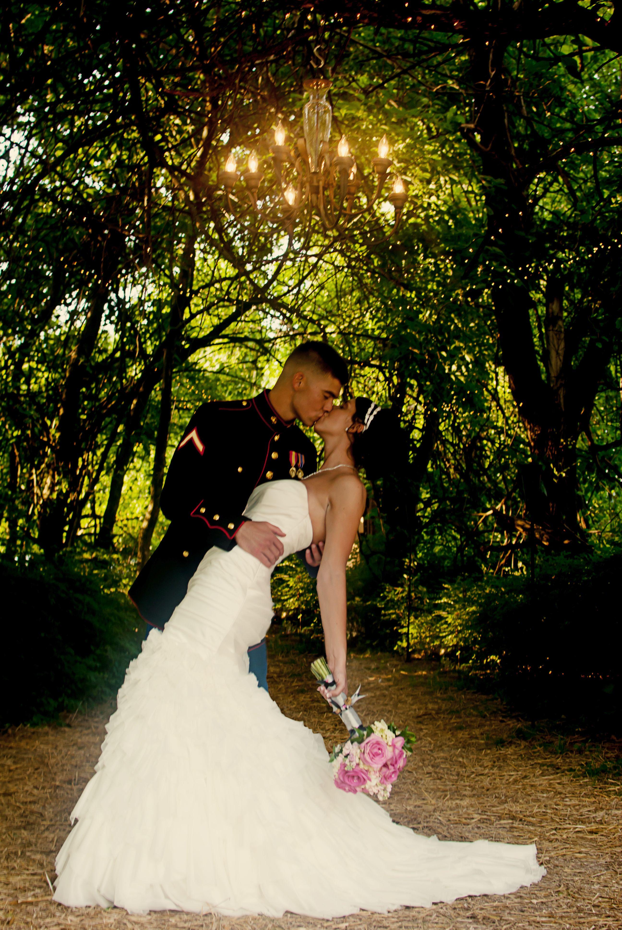 Marine Corps Wedding Military Kiss