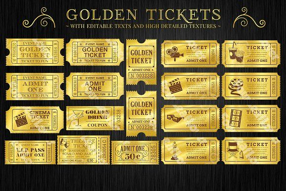 Admit One Ticket Template Free Fascinating Golden Tickets Templates Set  Golden Ticket Template Ticket .