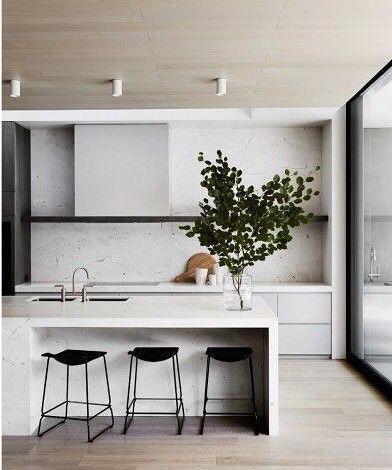 Best Minimalist Kitchen Marble Waterfall Counter Kök Layout 640 x 480