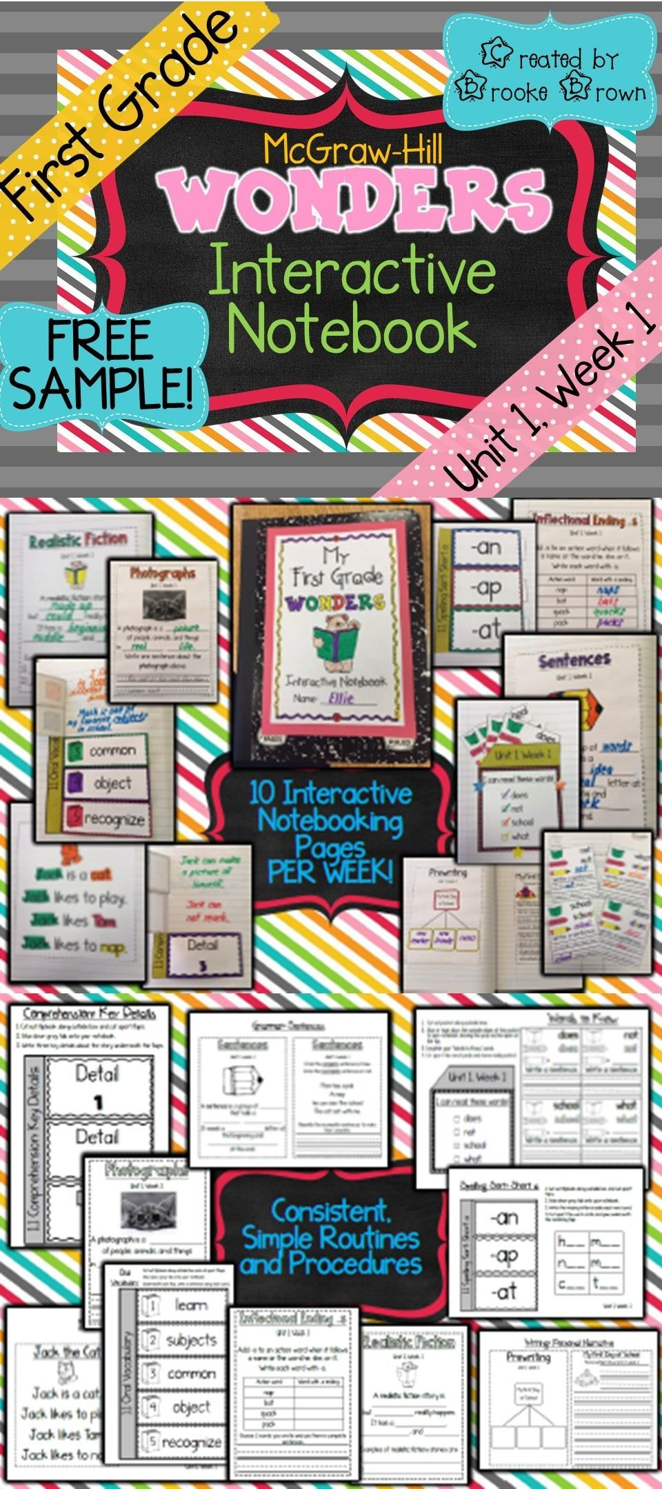 Free Sample Brand New First Grade Mcgraw Hill Wonders Interactive Notebooks 1st Gr First Grade Reading Interactive Notebooks Free Math Interactive Notebook First grade reading programs online
