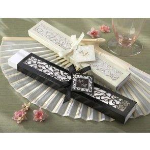 Luxurious Oriental Silk Hand Fan in Elegant Laser-Cut Wedding Favour Box