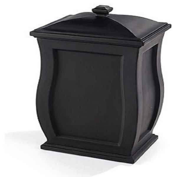 Vintage Wooden Trash Can With Lid Stained In Black The Bathroom Trash Cans With Lids Below