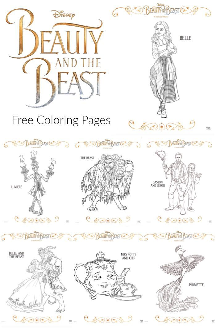 10 Free Beauty And The Beast Coloring Pages From 2017 Live Action Movie Featuring