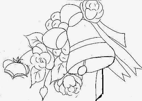 desenho de sino de natal com rosas e laço para pintura em tecido