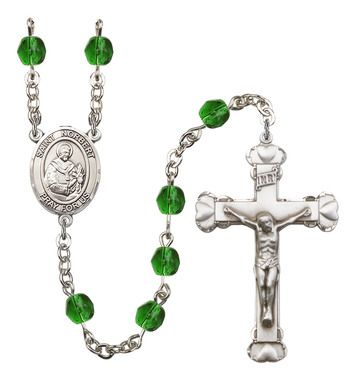 St. Norbert of Xanten Silver-Plated Rosary with 6mm Emerald Fire Polished beads