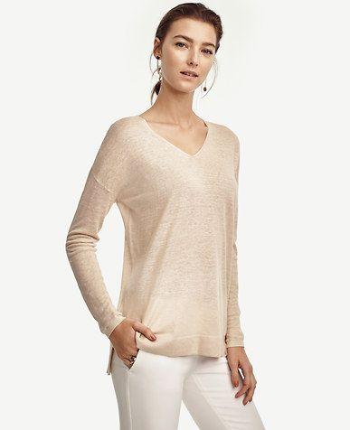 Image of Linen Blend V-Neck Tunic