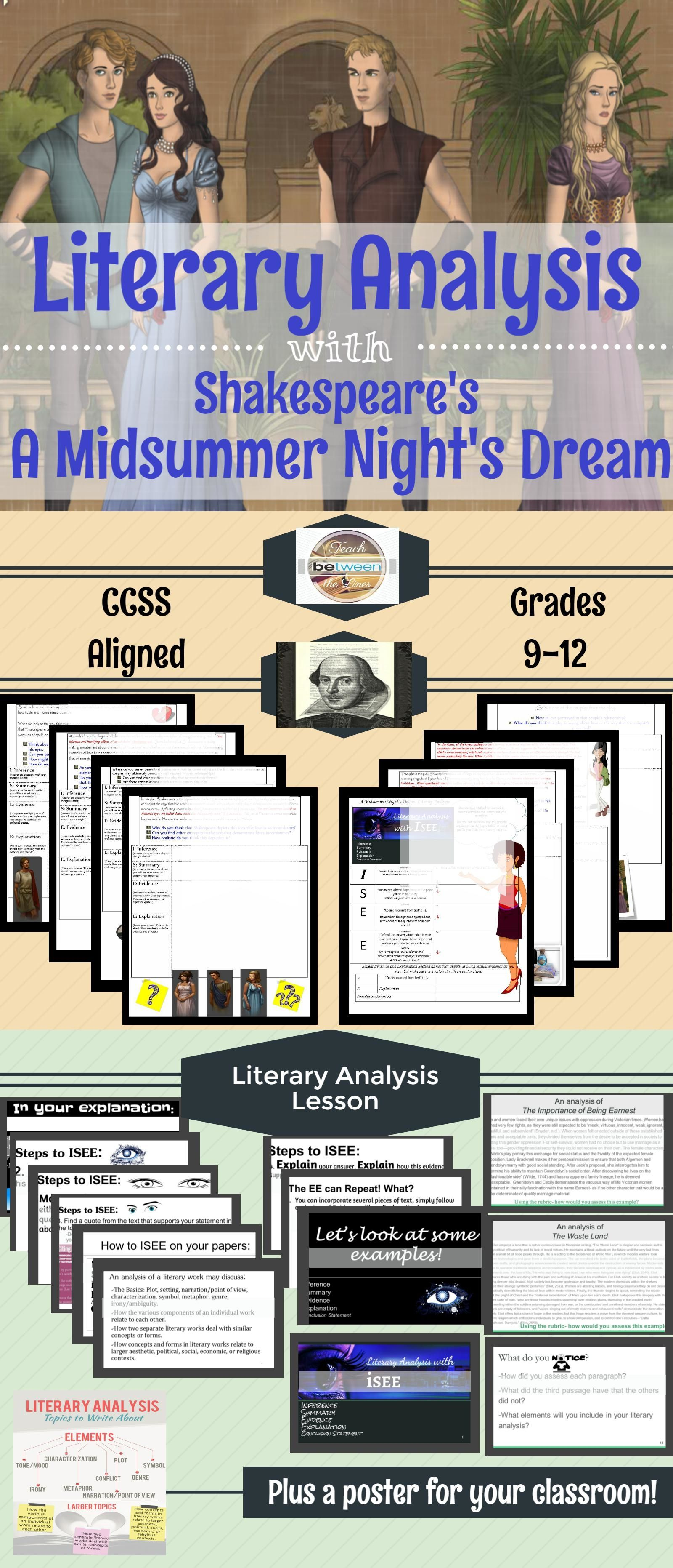Teach Student The Art Of Literary Analysi With Shakespeare S Drama Filled Play A Midsummer Night Dream School Essay Teaching Hamlet To Be Or Not Soliloquy