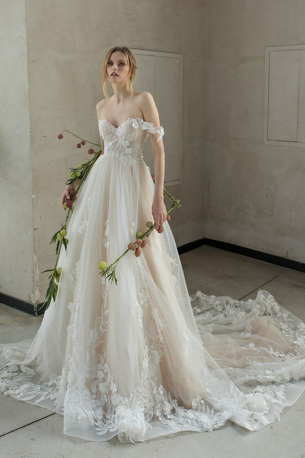 Photo of Majestic off shoulder ball gown embellished with 3D handmade…