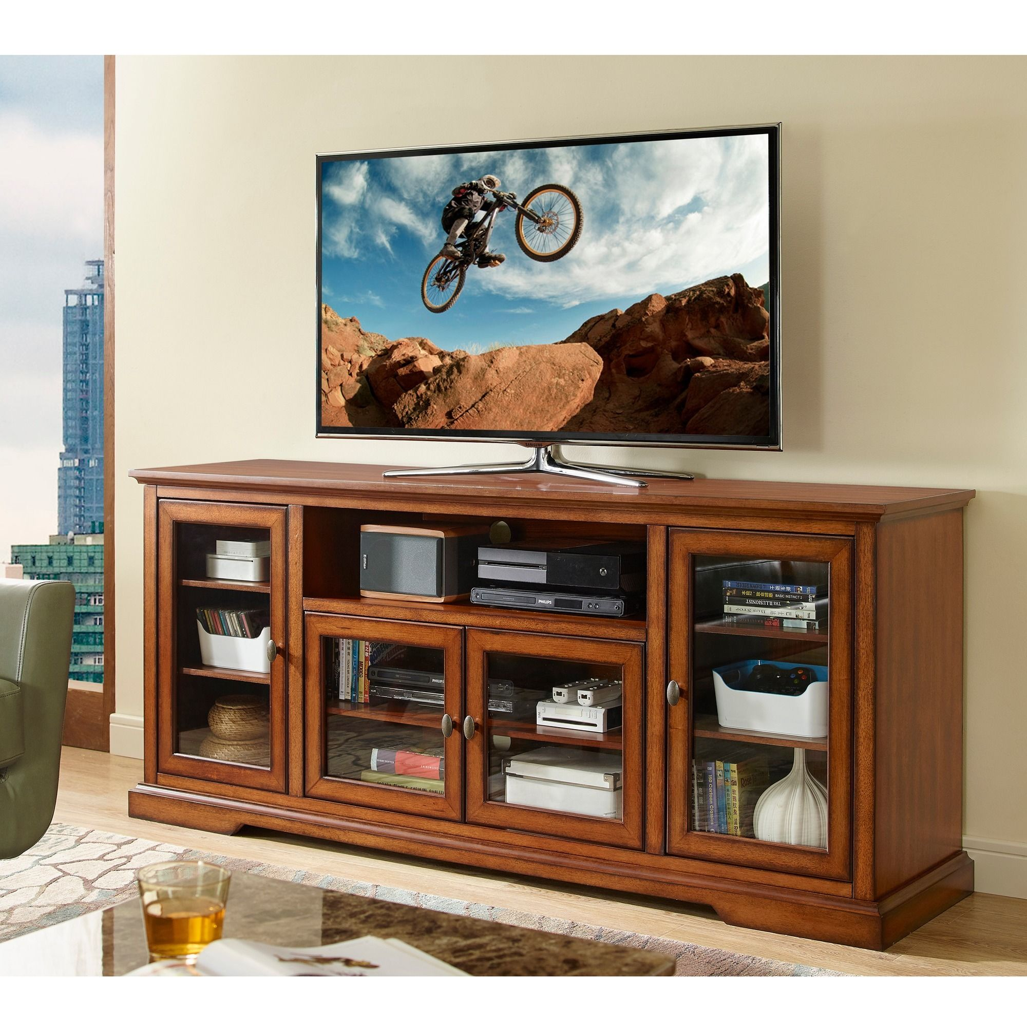 Display Your Entertaining Space In Style With This Highboy Media Stand Its Four Storage Cabinets Provide Ample Sto Tv Stand Wood Tv Stand Wood Tv Stand Rustic