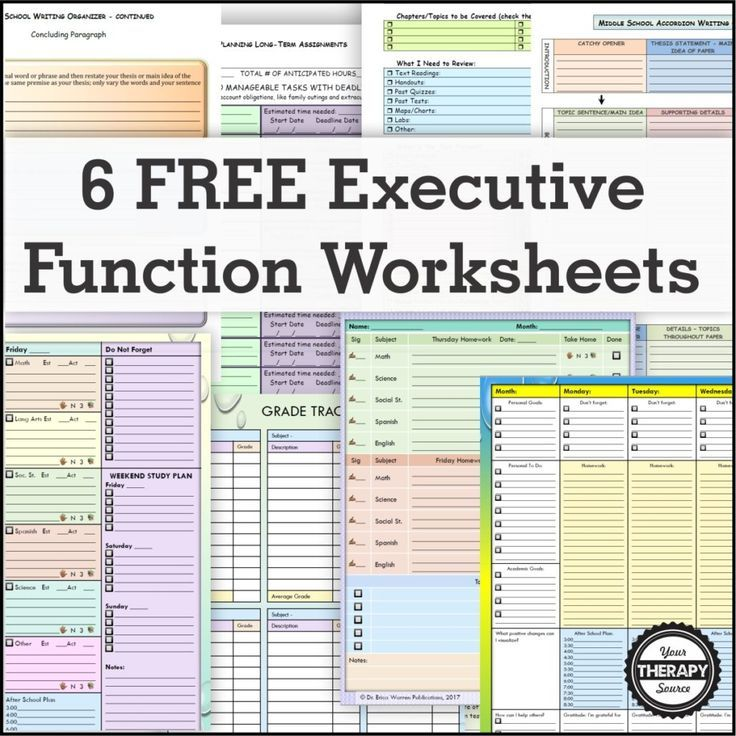 6 FREE Executive Functioning Activity Worksheets is part of Executive functioning activities, Teaching executive functioning, Teaching executive functioning skills, Executive functioning skills, Executive functioning, Physical education lessons - When executive function deficits are present, students can become frustrated, disengaged and give up  Here are 6 FREE executive functioning activity worksheets to help students succeed