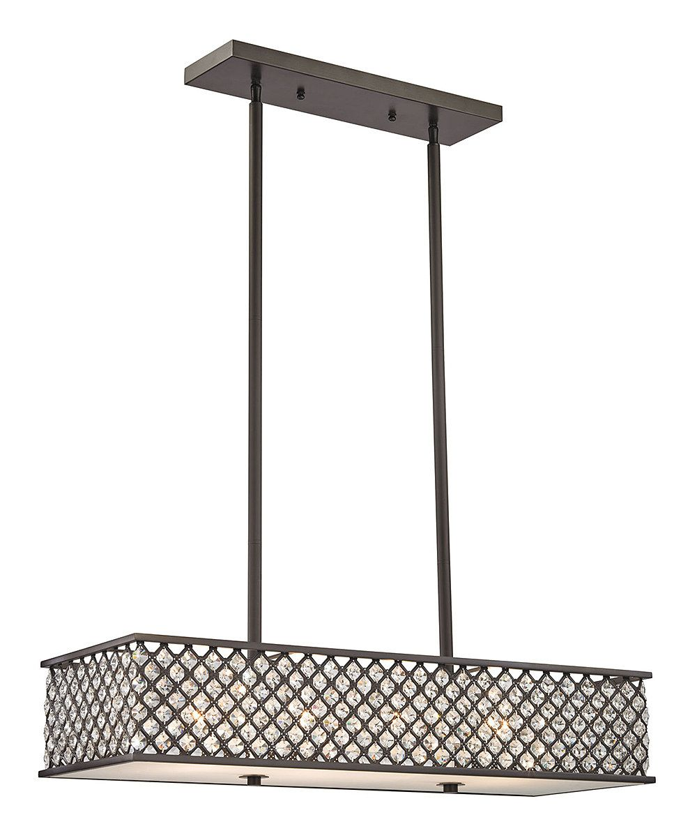 look at this oil rubbed bronze genevieve fourlight rectangle chandelier on zulily today