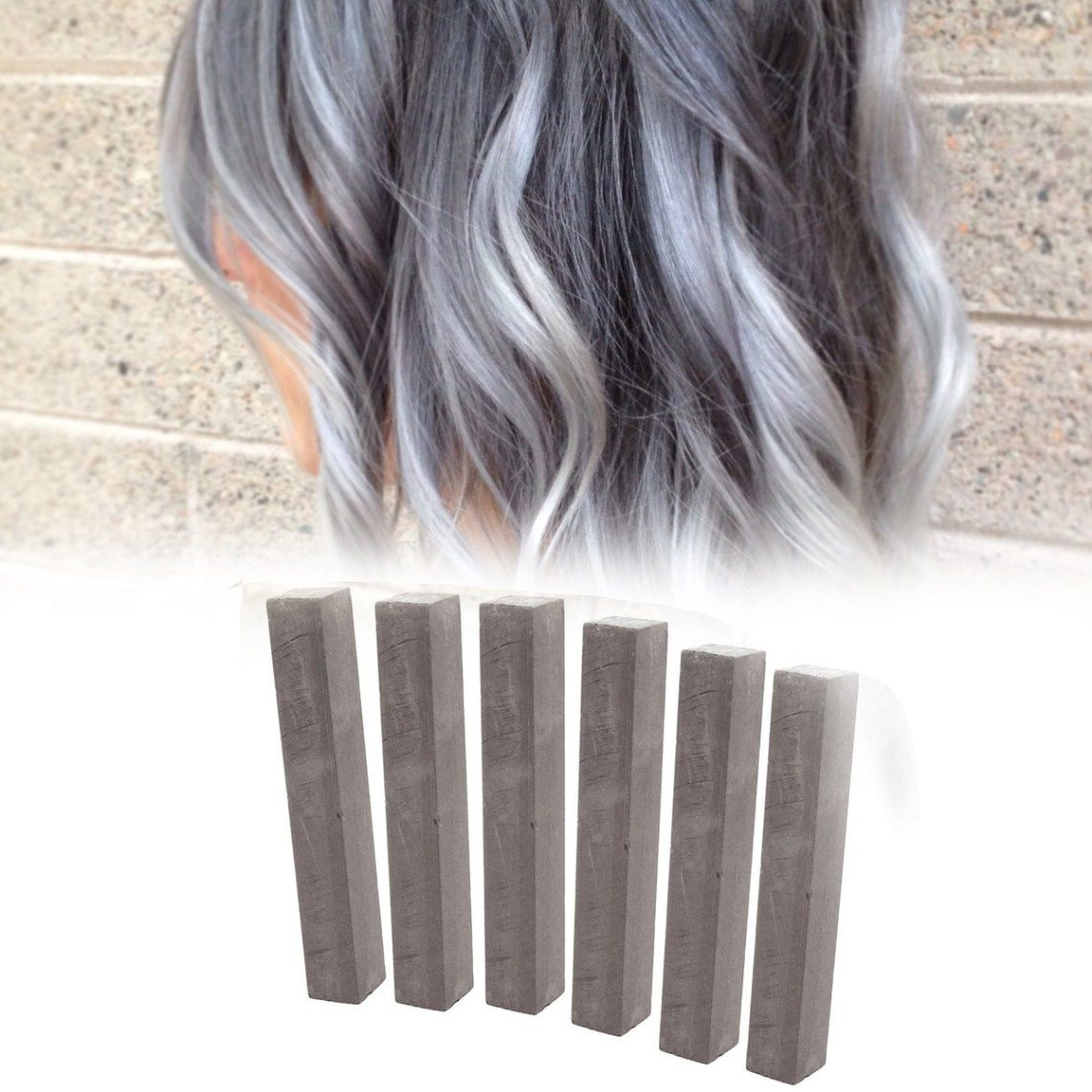 Best Ash Gray Hair Dye Set Cloudy 6 Dark Grey Hair Chalks Diy Dim Grey Hairchalk Kit Grey Hair Dye Dyed Hair Hair Chalk