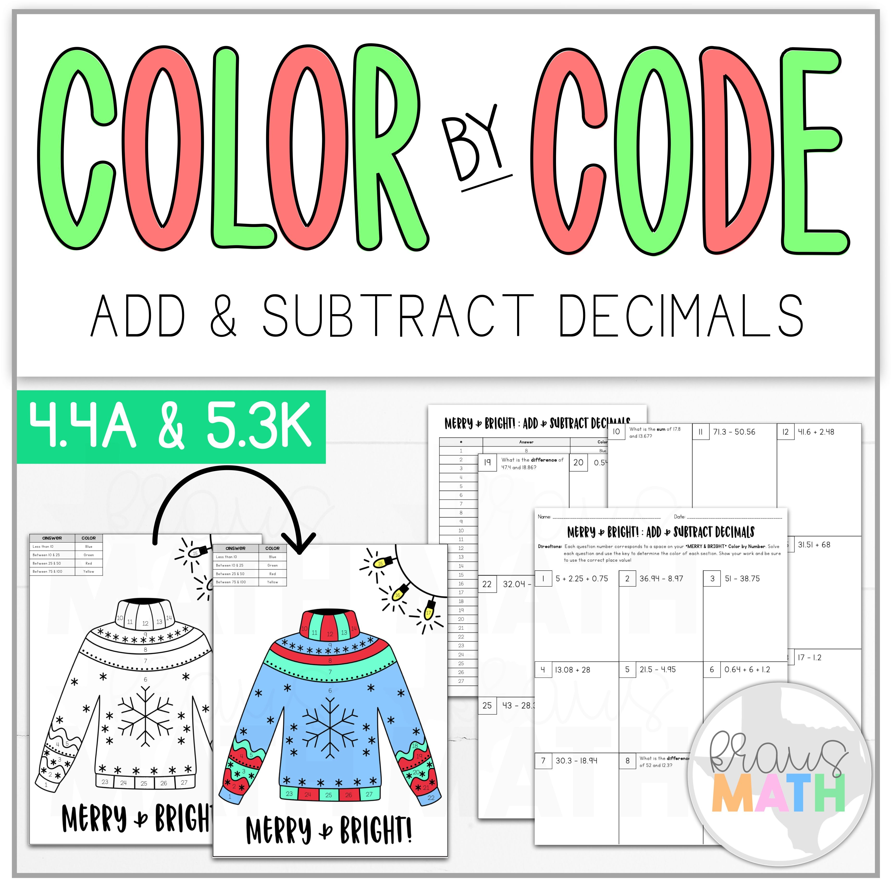 Color By Number Merry Amp Bright Add Amp Subtract Decimals