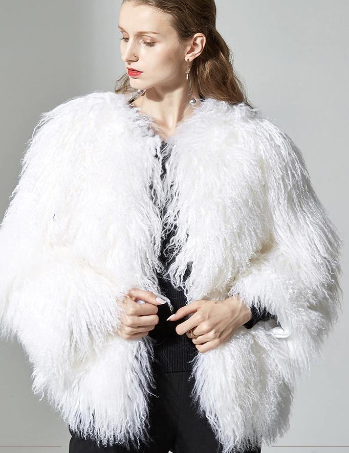 Coats, Jackets & Vests Chic Luxury Mongolian Fur Lady's Lamb Fur Coat Long Jacket Winter Outwear Parka