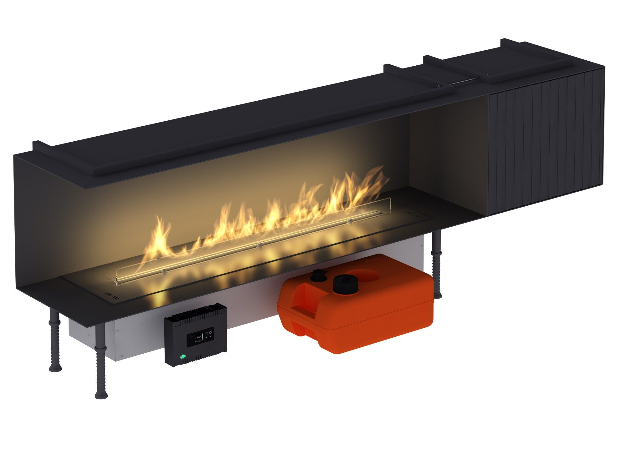 Smart Fireplace Insert With External Fuel Tank Fire Line Automatic