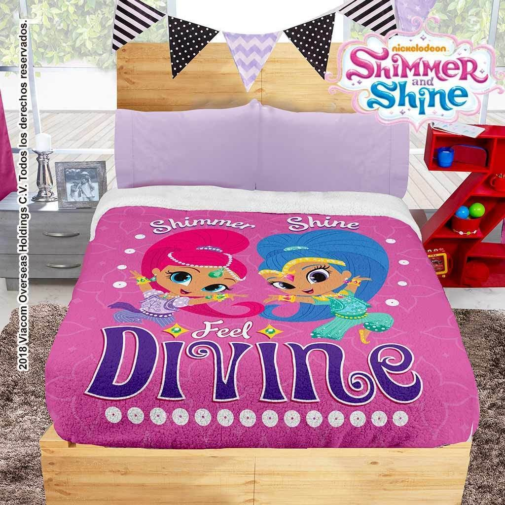 Nickelodeon Shimmer Shine Blanket With Sherpa Sheet Set Not