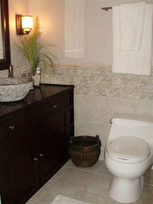 Zen Bathroom Vanity small zen bathroom with standing pebble tile, small asian inspired
